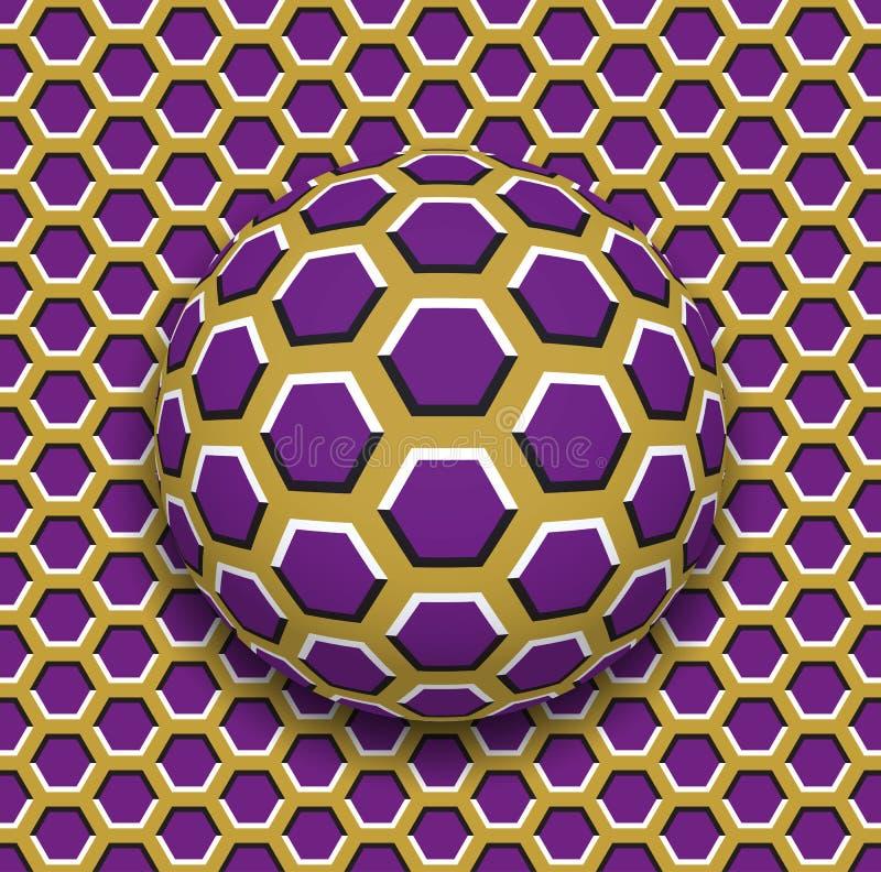Bal met een zeshoekenpatroon die langs de zeshoekenoppervlakte rollen Abstracte vectoroptische illusieillustratie stock illustratie