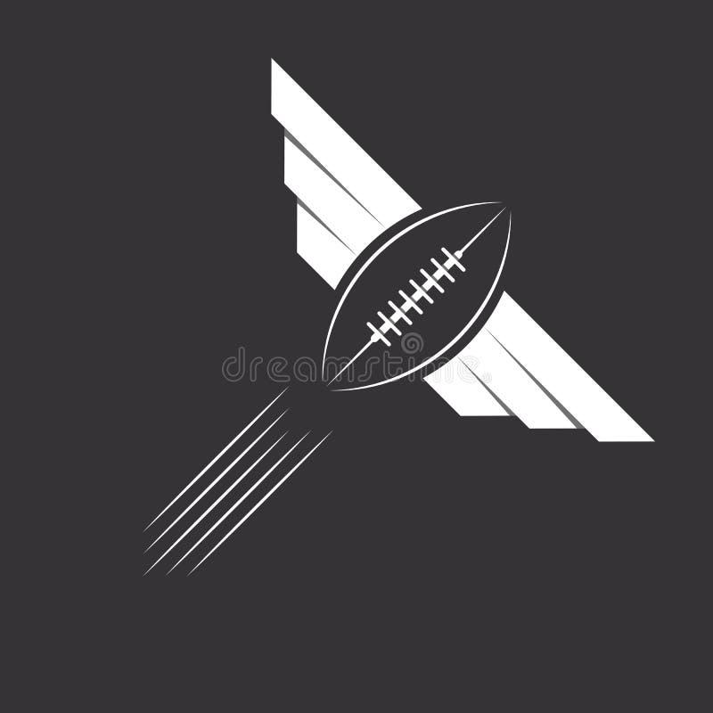 Bal met vleugels van Amerikaans voetbal of rugby, sportembleem stock illustratie
