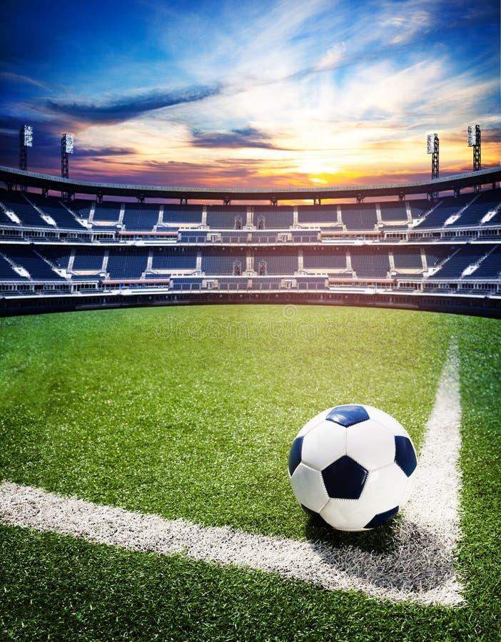 Bal op het kampioenschapsconcept van het voetbalstadion royalty-vrije stock foto