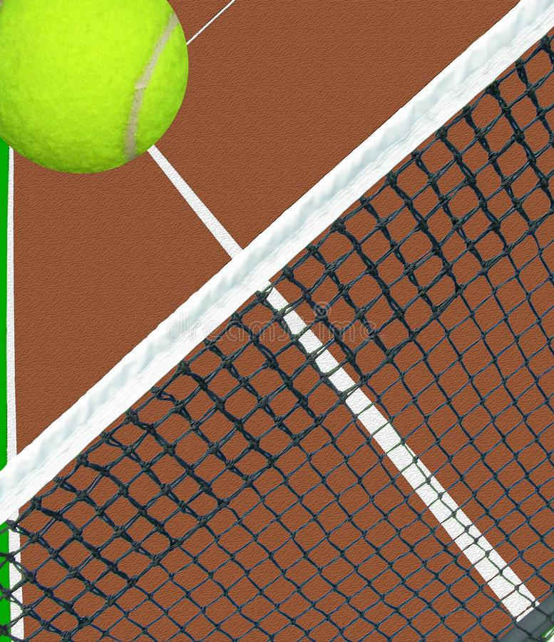 Bal over netto tennis stock illustratie