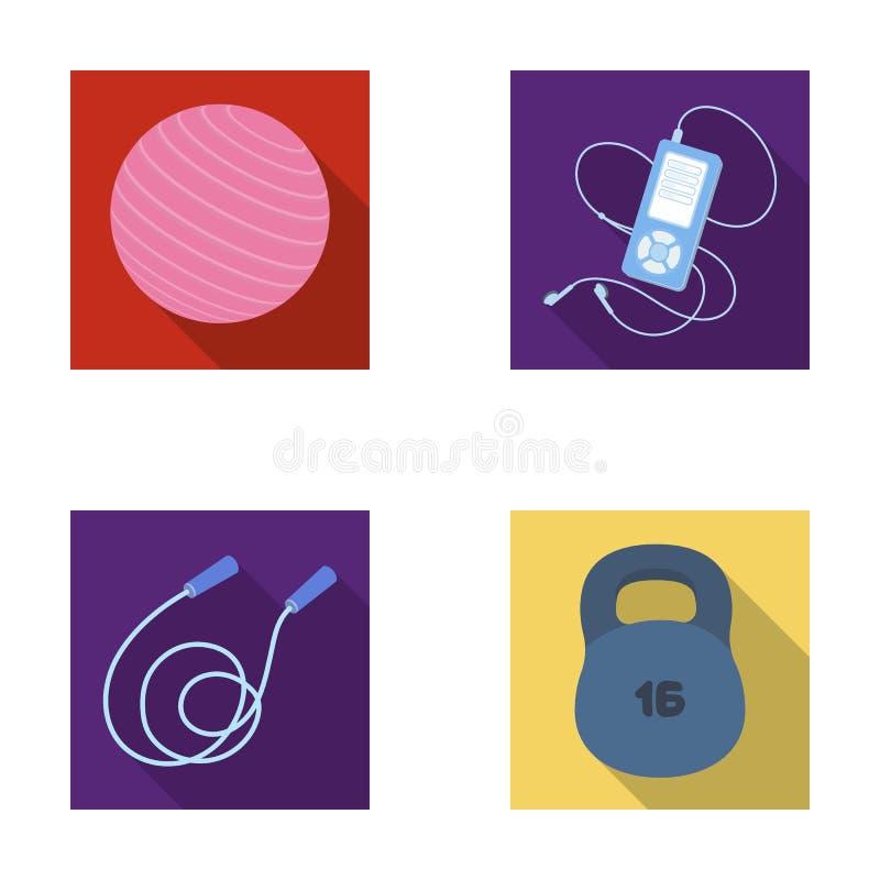 Bal, speler en ander materiaal om op te leiden Gymnastiek en van de training vastgestelde inzameling pictogrammen in de vlakke vo vector illustratie