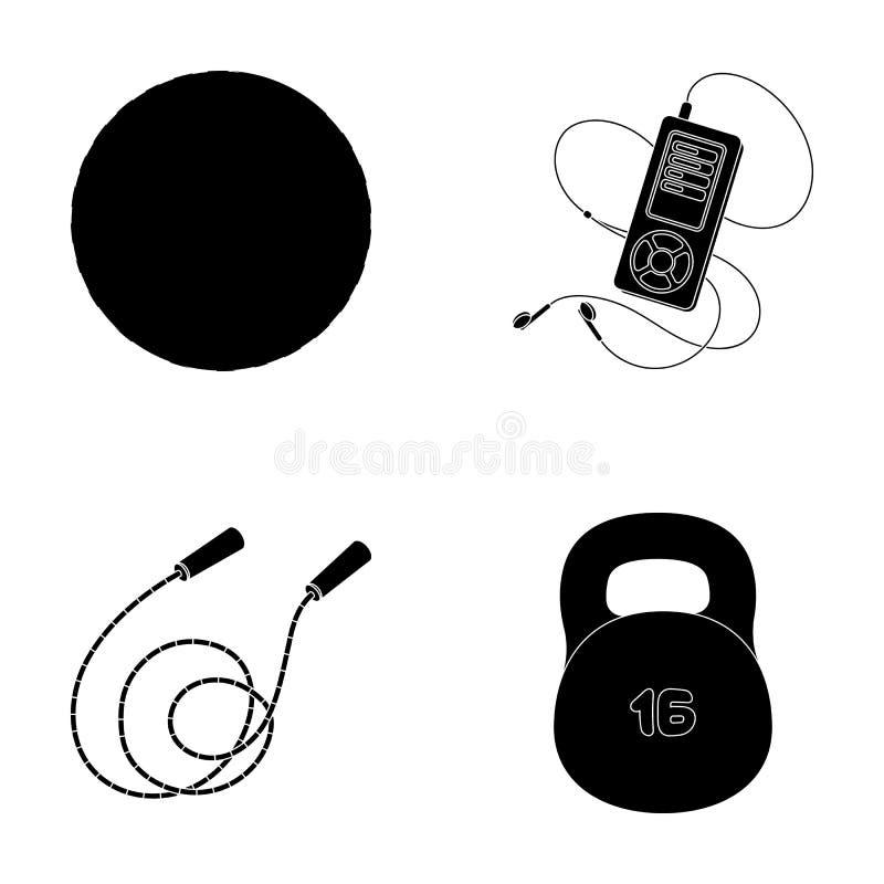 Bal, speler en ander materiaal om op te leiden Gymnastiek en van de training vastgestelde inzameling pictogrammen in de zwarte vo royalty-vrije illustratie