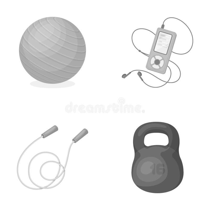 Bal, speler en ander materiaal om op te leiden Gymnastiek en van de training vastgestelde inzameling pictogrammen in zwart-wit st royalty-vrije illustratie