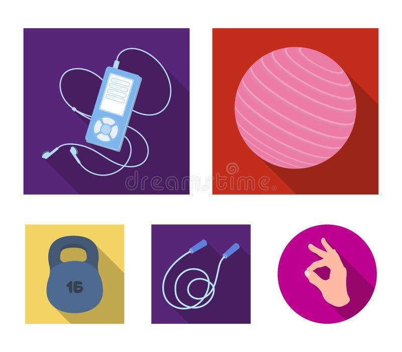 Bal, speler en ander materiaal om op te leiden Gymnastiek en van de training vastgestelde inzameling pictogrammen in de vlakke vo royalty-vrije illustratie