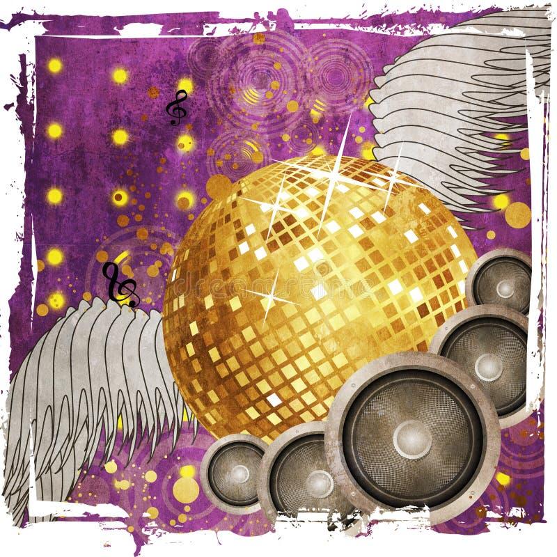 Download Bal Van De Grunge De Gouden Disco Met Vleugels Stock Illustratie - Illustratie bestaande uit partij, lint: 29513776