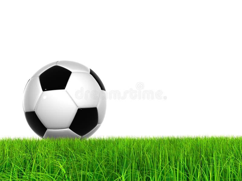 Bal van het hoge resolutie 3D voetbal in groen gras stock illustratie
