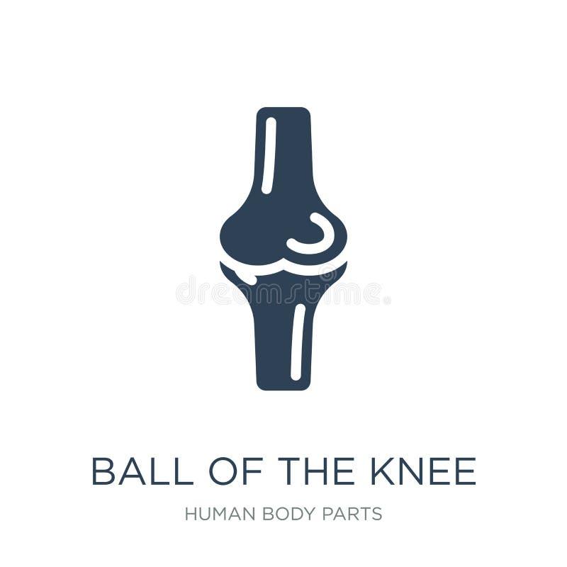 bal van het kniepictogram in in ontwerpstijl bal van het kniepictogram op witte achtergrond wordt geïsoleerd die bal van het knie vector illustratie