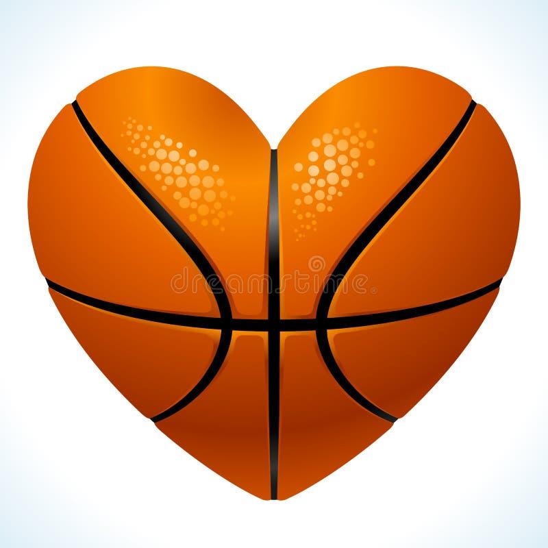 Bal voor basketbal in de vorm van hart royalty-vrije illustratie