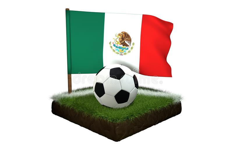 Bal voor het spelen van voetbal en nationale vlag van Mexico op gebied met gras royalty-vrije illustratie