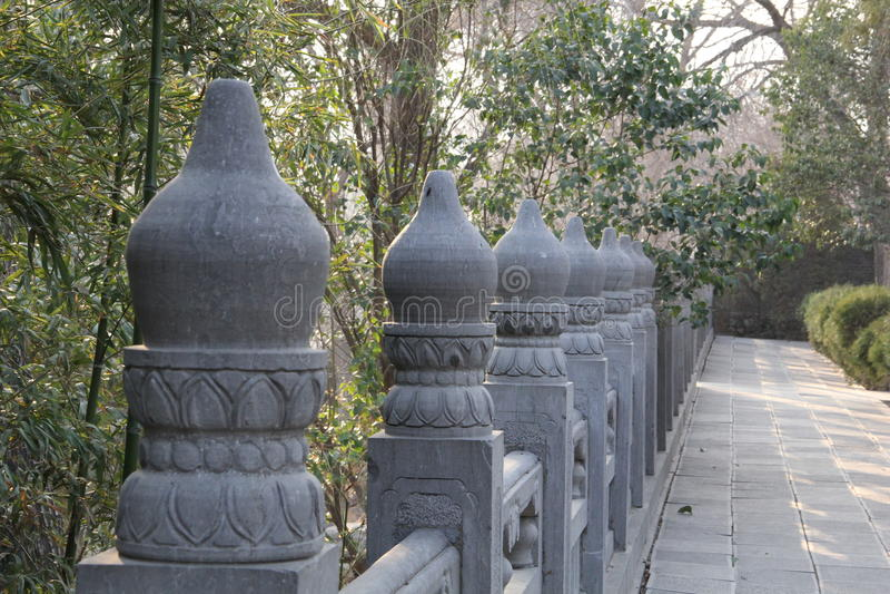 Balaústre de pedra antigo chinês fotografia de stock royalty free