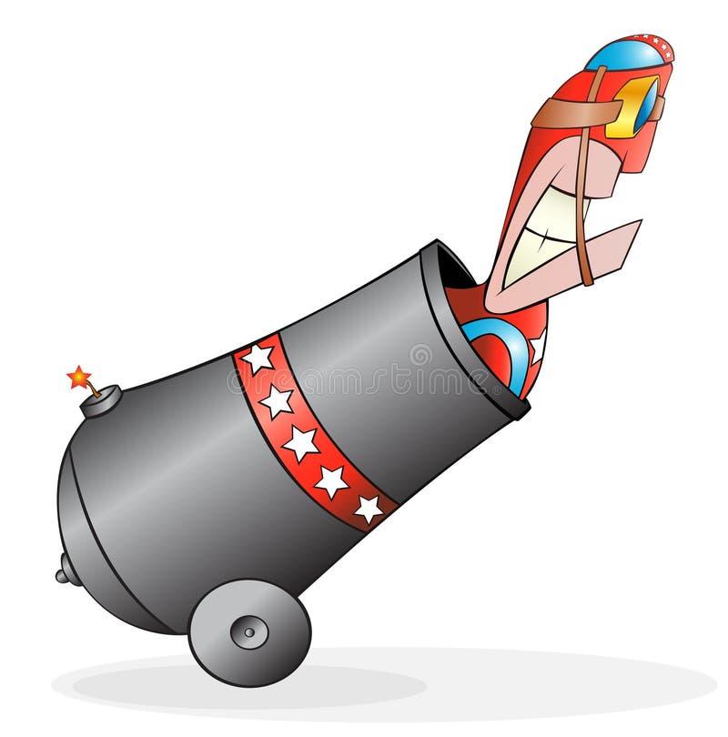 Bala de canhão do homem ilustração royalty free