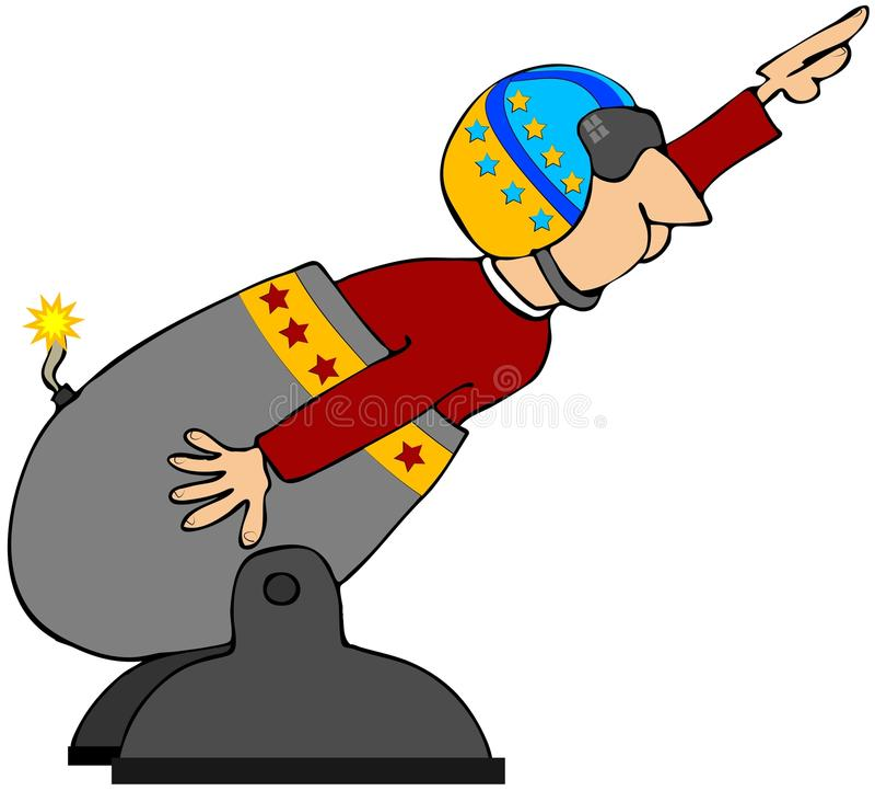 Bala de canhão humana ilustração royalty free