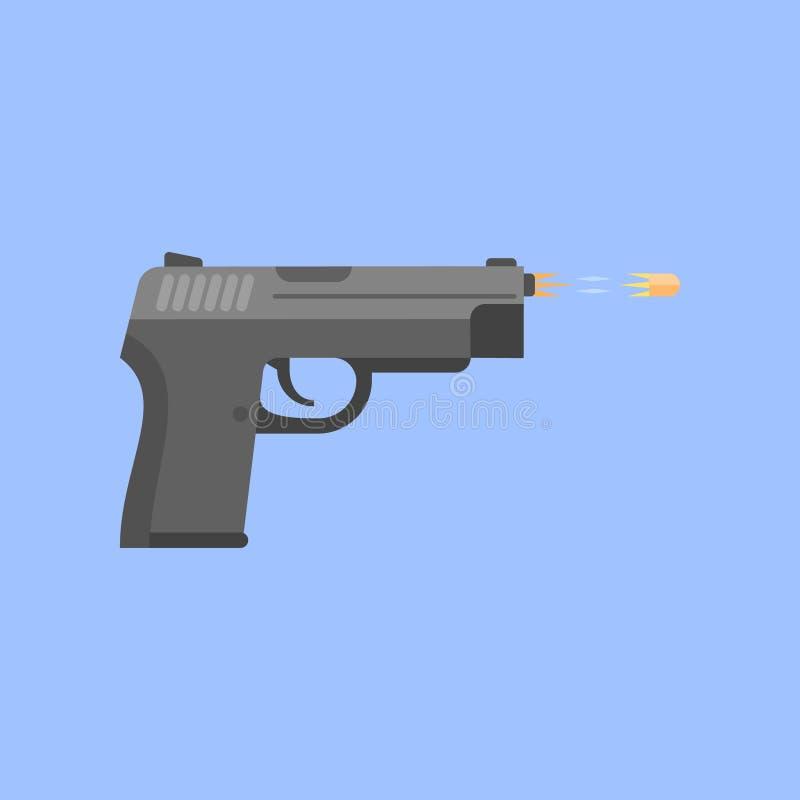 Bala do acendimento da arma isolada no fundo azul Tiro da pistola ilustração stock