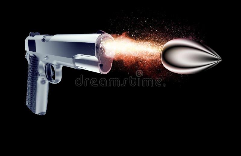 Bala encendida de un arma aislado en negro libre illustration