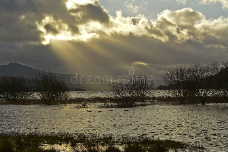Bala Lake i norr Wales arkivbild