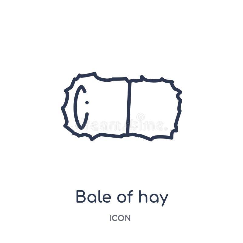 Bala linear del icono del heno de la colección agrícola y que cultiva un huerto de la agricultura del esquema Línea fina bala de  ilustración del vector