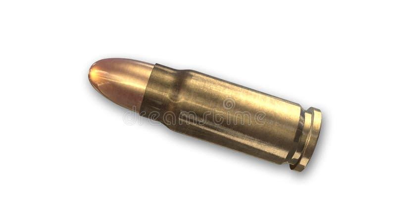 Bala, munição isolada na vista branca, lateral ilustração royalty free