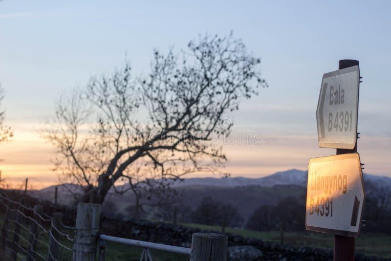 Bala till llangynogtecknet, Wales royaltyfri fotografi