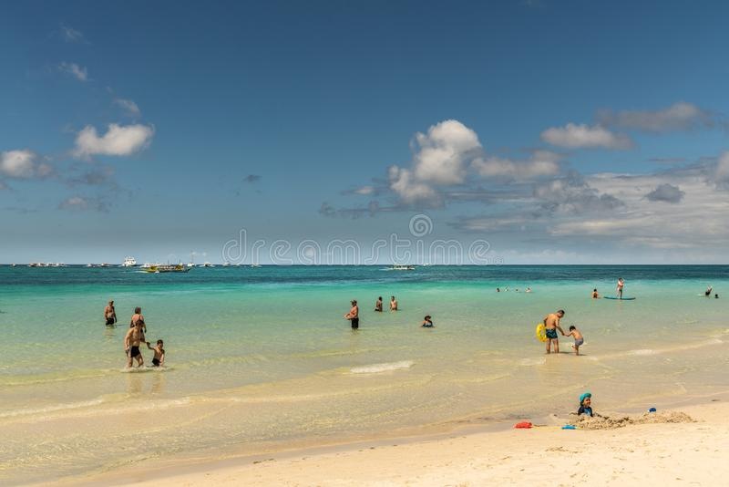 White beach sand and azure sea water, Balabag, Boracay, Philippines royalty free stock photography