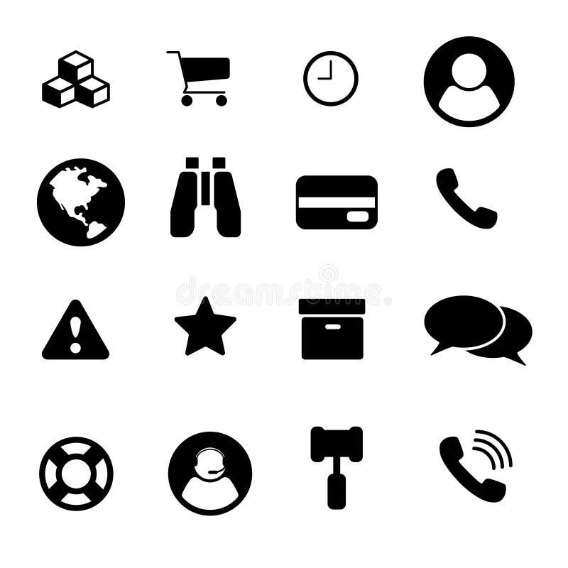 balack fijado de dieciséis iconos y comercio blanco ilustración del vector