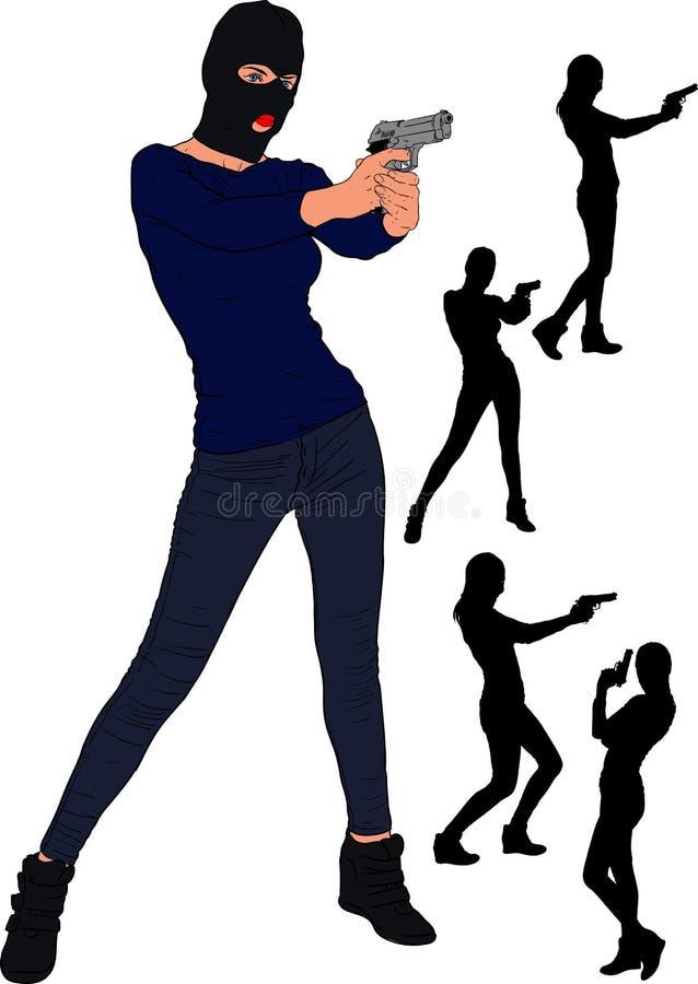 Balaclava κορίτσι πυροβόλων όπλων διανυσματική απεικόνιση