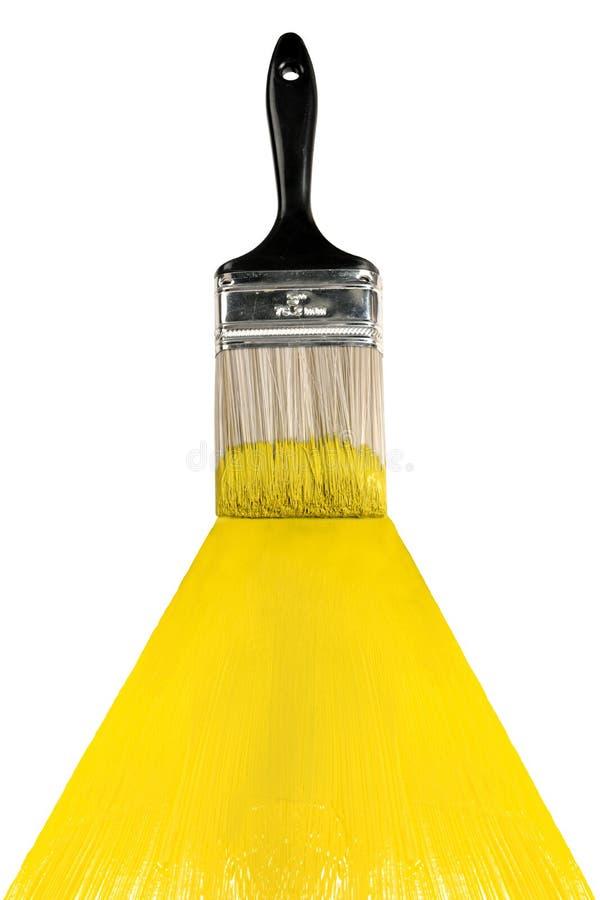 Balai avec la peinture jaune photos libres de droits