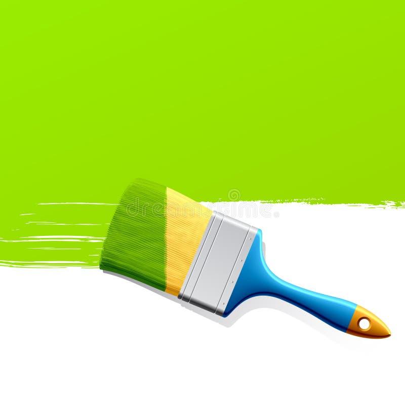 Balai avec la peinture verte illustration stock