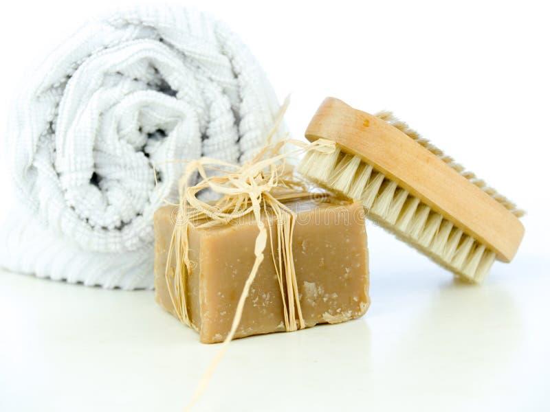 Balai de savon et de clou images libres de droits