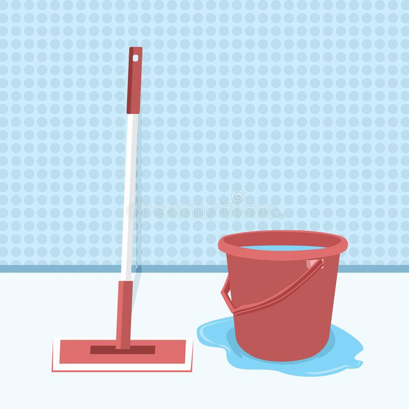 Balai et seau avec l'illustration de vecteur de l'eau, essuyant la conception plate de plancher Nettoyage humide Pi?ce propre Net illustration libre de droits