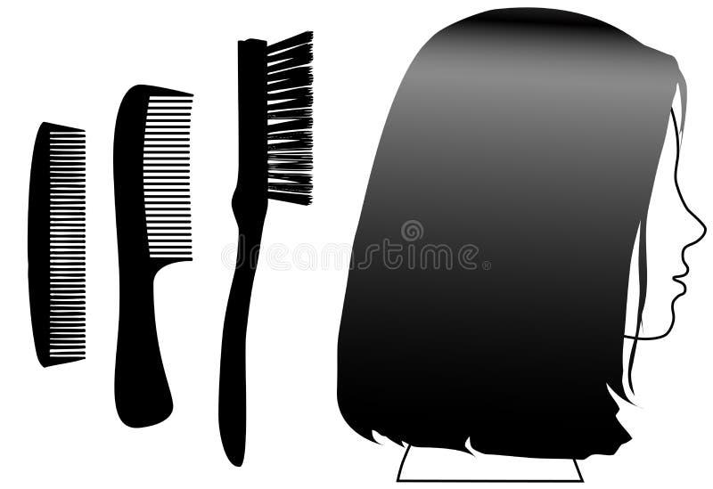 Balai femelle de peignes de profil de visage de cheveu noir illustration stock