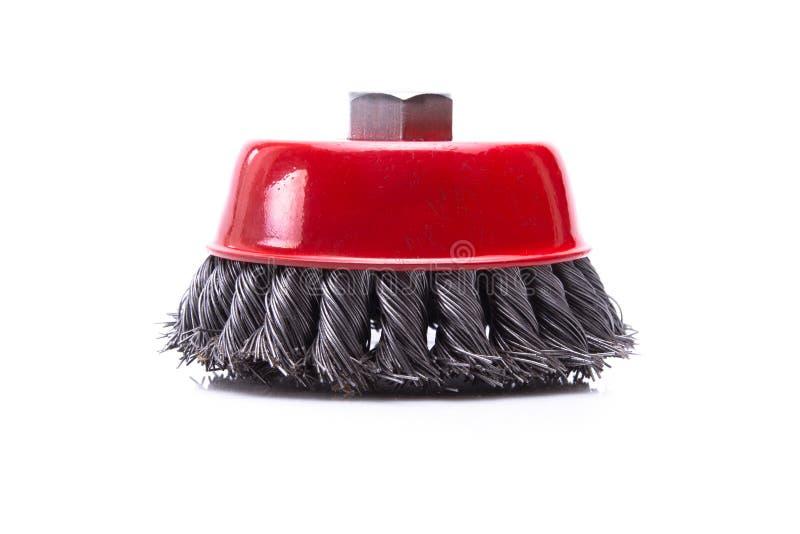 Balai tournant rouge en métal ou disque de meulage image stock