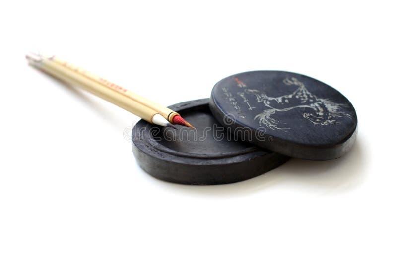 Balais chinois de calligraphie photographie stock