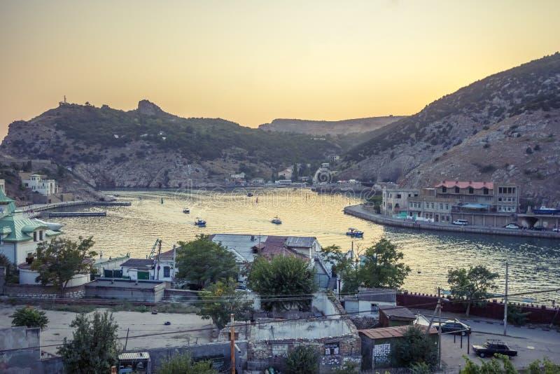 Balaklava-Hafen am Abend stockbild