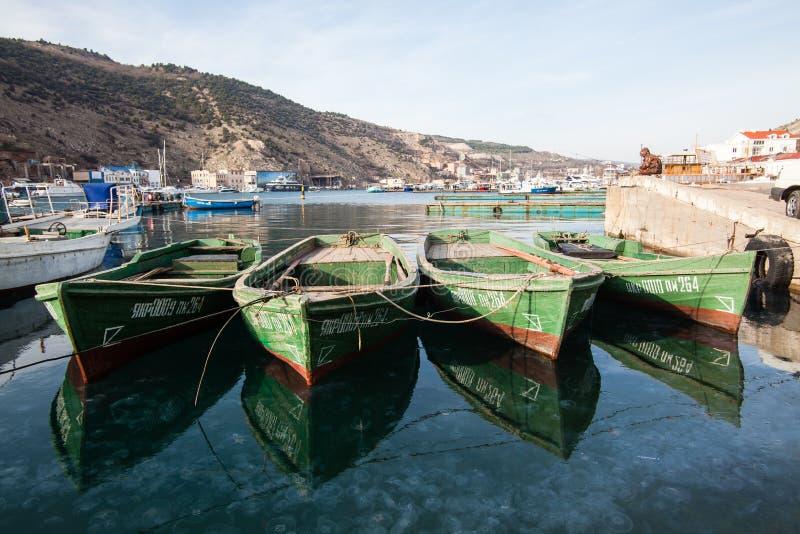 Balaklava, Ukraine - JANUARY 08 2010: Wooden boats in the Balaklava Bay in Sevastopol in the Crimea stock photos