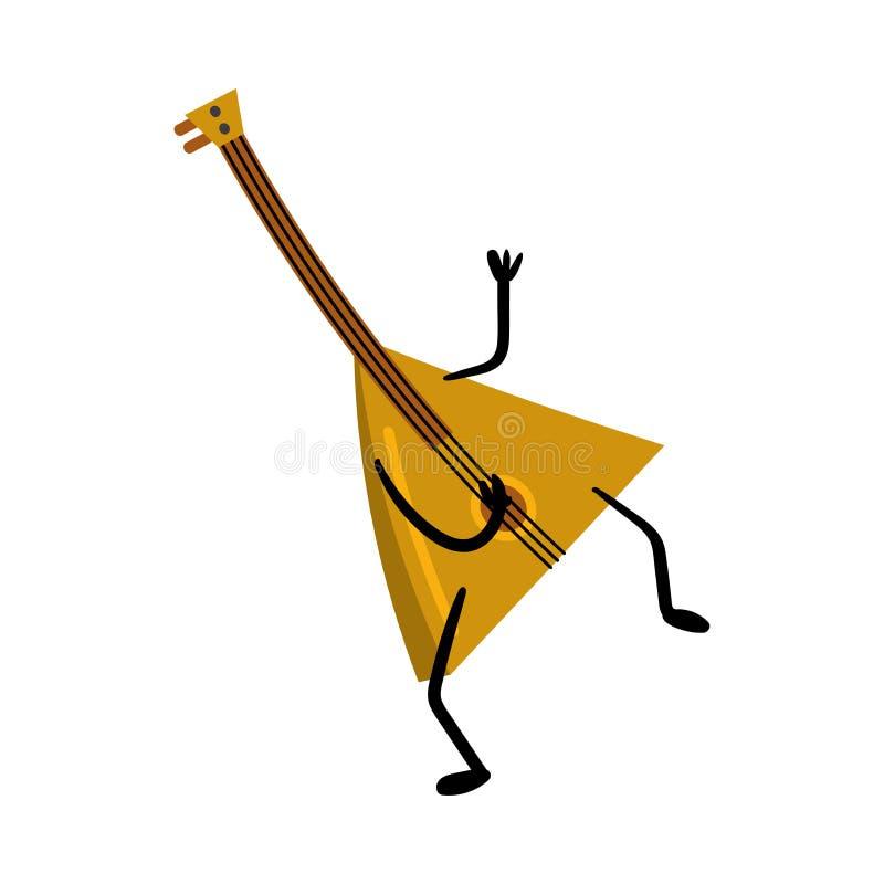 Balalaïka en bois drôle mignonne, instrument russe traditionnel illustration stock
