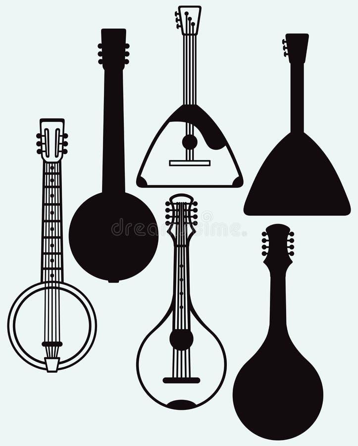 Balalaika, Banjo, Ukrainian kobza. Musical string instrument. Isolated on blue background. Vector silhouettes stock illustration