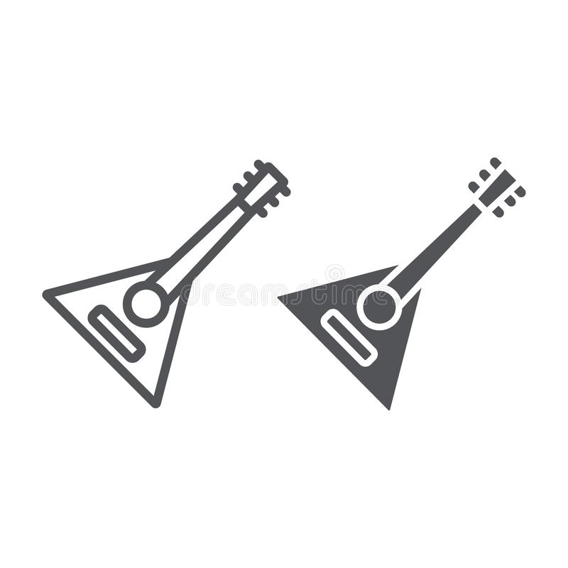 Balalaika line and glyph icon, music and string, folk russian instrument sign, vector graphics, a linear pattern on a. White background, eps 10 royalty free illustration