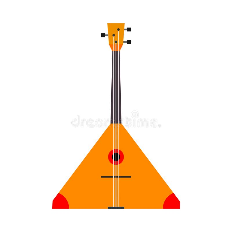 Balalaika vector icon top view illustration symbol. Acoustic string wooden red orchestra ethnic. Music instrument cartoon.  royalty free illustration