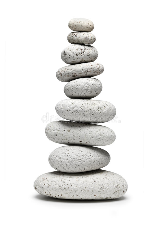 Balançando nove pedras brancas fotos de stock royalty free