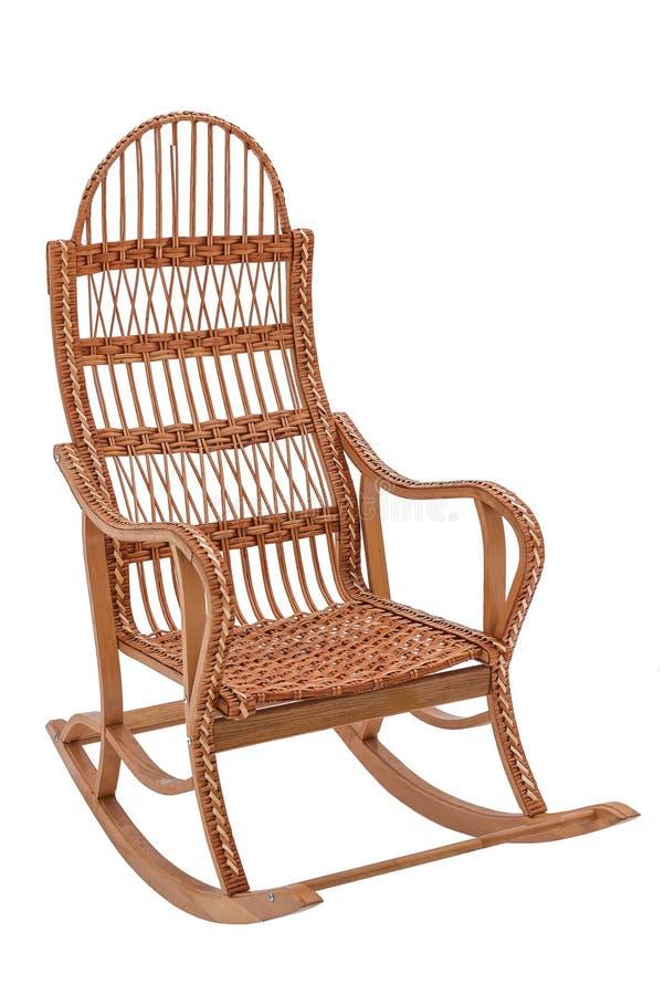 Balançar-cadeira de vime isolada imagem de stock royalty free