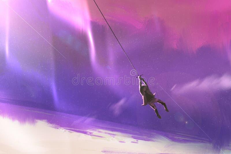 Balanço da corda acima da terra do planeta ilustração stock