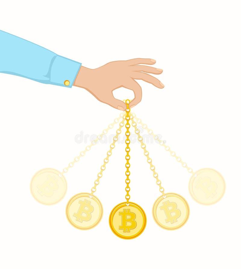 Balanço da moeda como um pêndulo ilustração stock