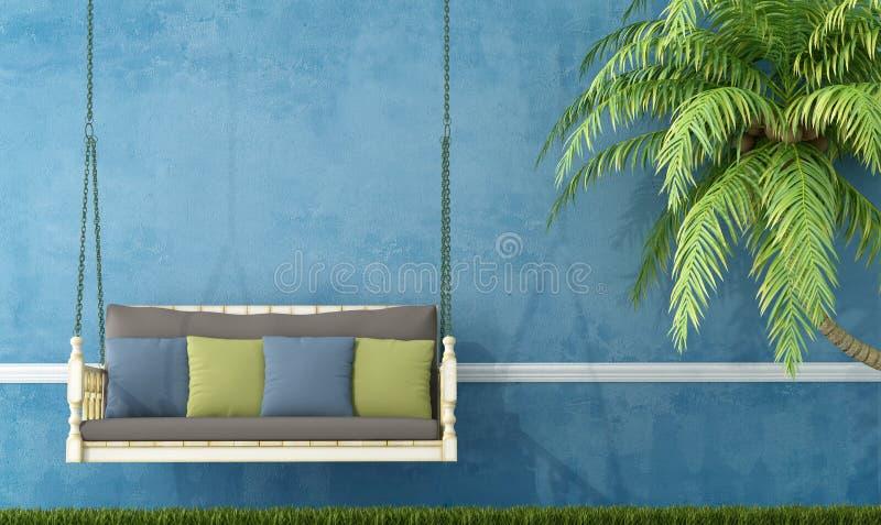 Balanço de madeira do vintage contra a parede azul ilustração stock