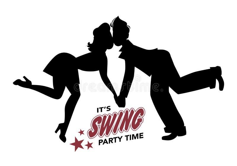 Balanço novo da dança da silhueta dos pares, lúpulo lindy ou rock and roll ilustração royalty free