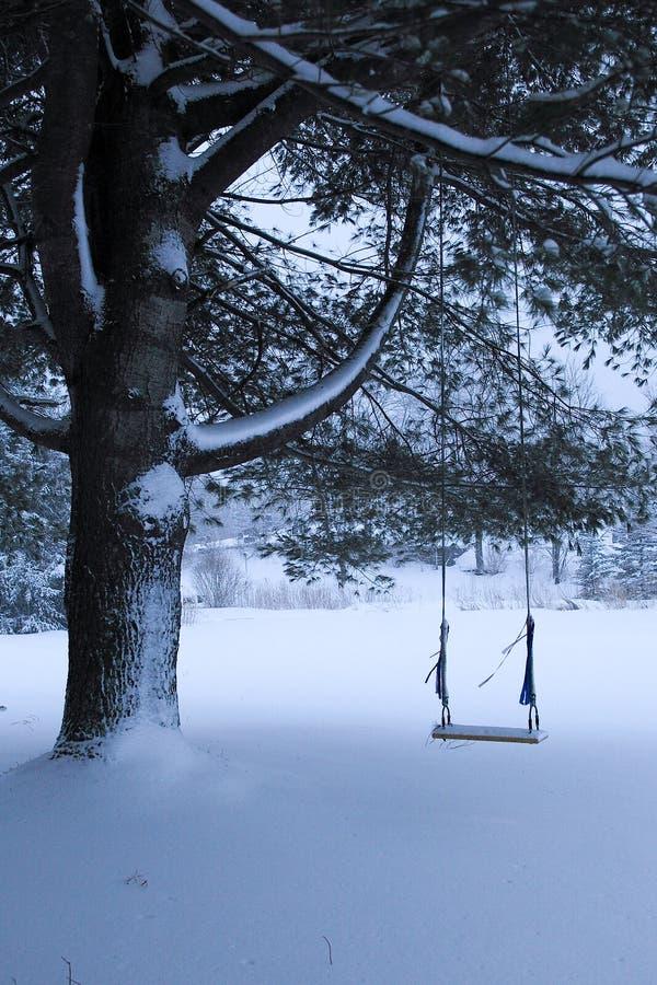 Balanço velho na árvore de abeto na neve fotografia de stock royalty free