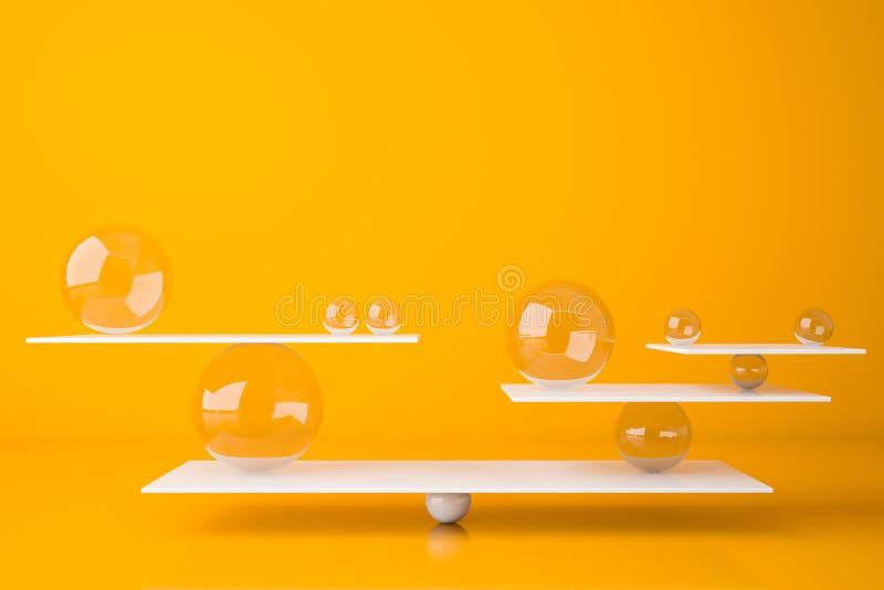 Balanc? com esferas de vidro, conceito do equil?brio ilustração royalty free