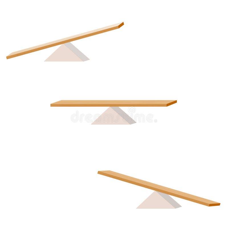 balancín fije de tres artículos tablón de madera que equilibra en un triángulo de madera libre illustration