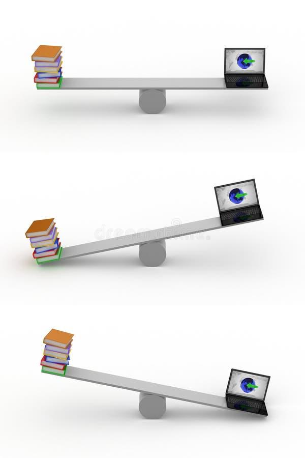 Balancín: Libros/Netbook ilustración del vector