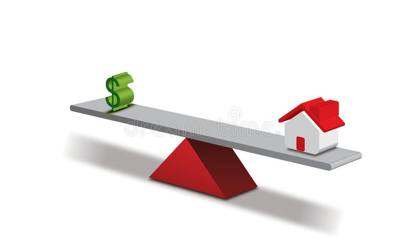 Balance. Seesaw concept Dollar and a House