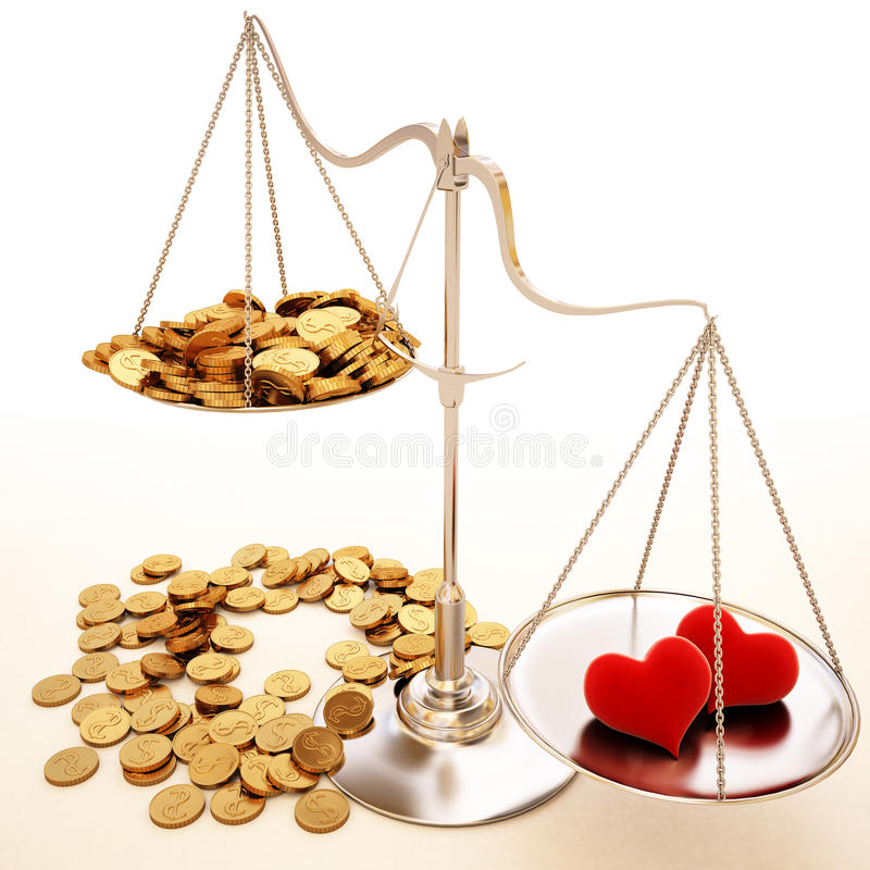 Balance. Two loving hearts outweigh a lot of money. With clipping path stock illustration